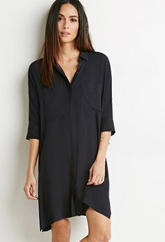 Dolman-Sleeve Shirt Dress   LOVE21   #f21contemporary