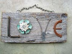 DIY Love Sign From Driftwood and Found Objects