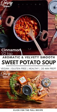 With vibrant spices and creamy coconut milk, this vegan sweet potato cream soup will be a staple recipe if you're craving for soup! It adds natural silkiness to any curry or soup. It also fills you up quickly, as it is plentiful in filling and healthy fats. Did I mention it is gluten-free, healthy and keto-friendly? 20 minutes prep is all you need. Best Vegan Recipes, Vegan Dinner Recipes, Healthy Breakfast Recipes, Vegan Dinners, Raw Food Recipes, Veggie Recipes, Vegetarian Recipes, Cooking Recipes, Healthy Fats