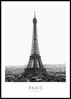 Poster mit Schwarz-Weiß-Fotografie des Eiffelturms