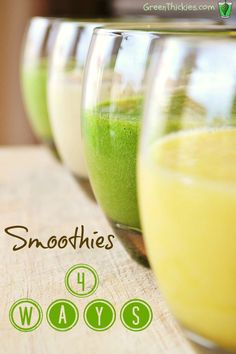 4 Way Smoothie: How to make a fruit smoothie 4 different ways. Very informative blog on how you can take a basic smoothie recipe and then can easily add different ingredients for lots of different options!