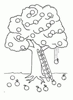 Tree Coloring Pages Apple And Ladder Page Kids