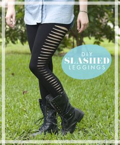 DIY No Sew Easy Slashed Leggings Tutorial. Easy tutorial from Sprinkles in Springs.She spent $4.20 for the leggings at Forever21. *I usually only post things I'm seriously thinking of making, but these will appeal to some of the people who check in with my blog and these are so simple to make.