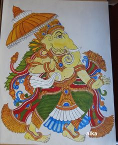 Kerala Mural Paintings Indian Traditional Paintings, Indian Paintings, Ganesha Painting, Ganesha Art, Kalamkari Painting, Kerala Mural Painting, Indian Folk Art, India Art, Art N Craft