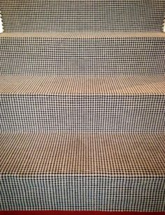 Pixel stair runner. Hand woven with pure New Zealand Wool. Available in bespoke sizes and colours. Contract quality. Designed By Chichi Cavalcanti