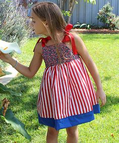 This Patriotic Bunting Bows Dress - Toddler & Girls is perfect! #zulilyfinds