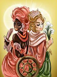 Santa Catarina e Oba by OradiaNCPorciuncula on DeviantArt Orisha, Black Women Art, Black Art, Yoruba Religion, Deities, Female Art, Color Inspiration, Art Drawings, Anime Art
