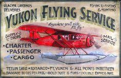 Vintage Aviation Signs - Yukon Flying Service LARGE, 20x32 : MyBarnwoodFrames.com | Barnwood Frames, Rustic Picture Frames, Rustic Mirrors & Home Decor