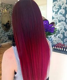 """Seamless fire... get the formulas & SBS by searching """"Dark Bright Blend"""" at behindthechair.com! Thanks to Natasha at the @thefoxandthehair for sharing her color secrets w/ BTC! #ombrehair #raspberryhair #behindthechair by behindthechair_com"""