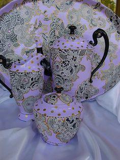 Hand painted tea set by Nini Violette