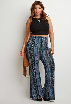 Love!  Plus Size Floral Paisley Flared Pants