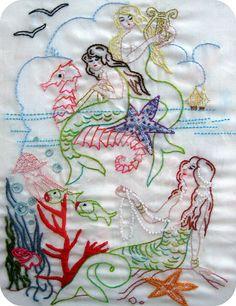 Vintage Mermaids. Embroidery.