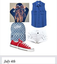 I made this with Polyvore. It's a great forth of July outfit. ❤️