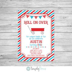Little Red Wagon Birthday Invitation Printable - Roll On Over Birthday Invitation