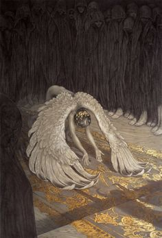 """Descent of Man"", by Rebecca Yanovskaya. Ballpoint pen and gold leaf.  http://www.rebeccayanovskaya.com/"