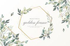 Beautiful floral card with golden frame Free Vector | Free Vector #Freepik #vector #freeflower #freeframe #freewedding #freewedding-invitation