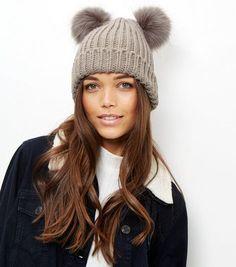 Mink Double Faux Fur Pom Pom Hat | New Look