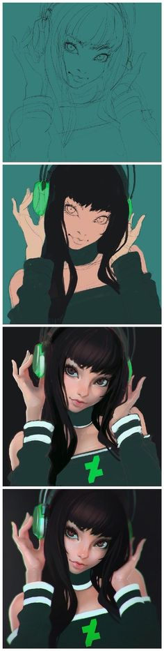 Deviantart anime girl with headphones coloring and shading step-by-step