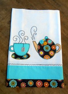 Tea Pot and Tea Cup Appliqué Sewing Appliques, Applique Patterns, Applique Designs, Embroidery Applique, Quilt Patterns, Machine Embroidery, Sewing Patterns, Hand Towels, Tea Towels