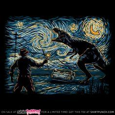 """Jurassic Night"" by Hootbrush Inspired by Jurassic World and Van Gogh's Starry Night Jurassic Park Tattoo, Jurassic Park Party, Jurassic Park 1993, Jurassic Park World, Jurassic World Fallen Kingdom, Jurrassic Park, Park Art, Art And Illustration, Illustrator"