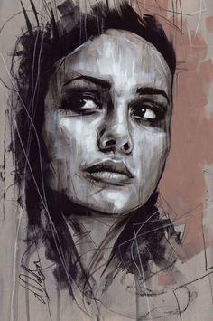 """Non Nude OIL & ACRYLIC CANVAS Painting ORIGINAL Portrait By L Dolan 12x17"""" Gwen"""