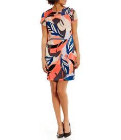 Vince Camuto Modern Tropics Round Neck Cap Sleeve Sheer Yoke Printed Dress #Dillards