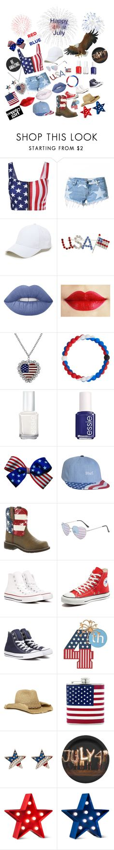 """""""Happy 4th of July🎉"""" by genayala ❤ liked on Polyvore featuring Sole Society, Lime Crime, 1928, Lokai, Essie, HUF, Ariat, claire's, Converse and Nine West"""
