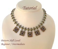 XQUEB beaded necklace beading tutorials and by PeyoteBeadArt