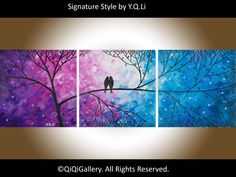 """***TITLE: """"Night in the Forest""""    ***SIZE: 36"""" x 12"""" x 0.8""""    ***THEME: Love birds on tree branches.    ***MEDIUM: Professional grade acrylics or"""