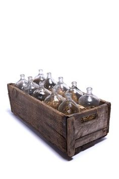 French Bottles in Wood Carrier. What a fun thing to have for an outdoor gathering.