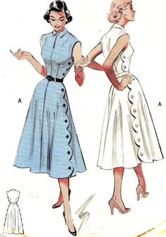 1950s Butterick 5772 #dress #vintage #pattern THESE DRAWINGS WERE AN INSPIRATION TO A LTTLE GIRL WAY BACK WHEN (me!)