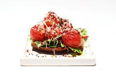 Try this recipe for a Tomato Bruschetta with dried olives and Parmesan cheese, you will never look at the bruschetta the same again, full recipe at Ateriet.