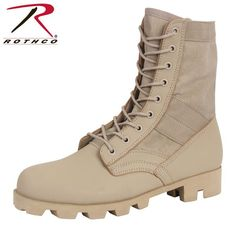 Rothco Classic Military Jungle Boots Desert Tan Tactical Boot - Ideas of Boots Desert Combat Boots, Military Combat Boots, Jungle Boots, Cargo Work Pants, Military Camouflage, Tan Guys, Shoe Size Conversion, Black Rubber, High Boots