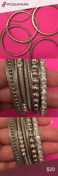 7 piece set of silver bracelets 7 piece set of silver bracelets Jewelry Bracelets