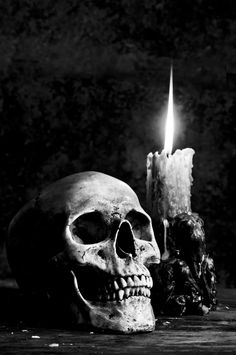 black and white skull and candle