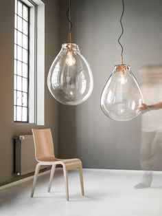 Bubbles: oversized mouthblown glass pendants at Bomma