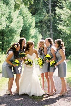 gray & yellow bridesmaids