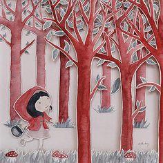 Le petit Chaperon rouge (d'après Perrault) | © Anne-Laure Charlery | Grain de vent | Illustration à l'aquarelle | graindevent.com