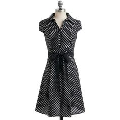 Vintage Inspired Mid-length Cap Sleeves Shirt Dress Hepcat Soda... (73 CAD) ❤ liked on Polyvore featuring dresses, modcloth, vestidos, black, polka dots, apparel, fashion dress, cap sleeve dress, shirt-dress and vintage style dresses