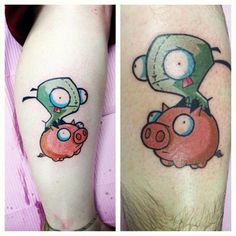 After what seems like a thousand years, my best friend & I finally got our matching Gir (from Invader Zim) tattoos. They were done at Halo in Liverpool, NY by Ron. Dude does some amazing work, so if youre ever in the area definitely be sure to check him out.