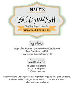 natural body wash recipe instead of store bought! get those chemicals out of here! And you can use whatever oils are your fave :) Diy Body Wash, Homemade Body Wash, Natural Body Wash, Eos, Pure Castile Soap, Homemade Beauty Products, Facial Products, Bath Products, Beauty Recipe