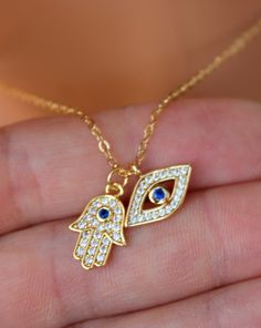 Dainty Gold Evil Eye Hamsa Double Charm Necklace Women Girls Small Dainty Hand Blue Eye Charms Jewelry Gift for her