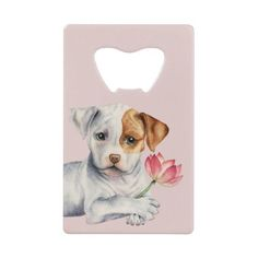 Pit Bull Puppy Holding Lotus Flower Painting Credit Card Bottle Opener - floral gifts flower flowers gift ideas