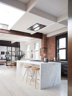 Scandinavian Minimalism in a New York Loft Apartment (Gravity Home) Bathroom Interior Design, Modern Interior Design, Interior Design Inspiration, Kitchen Interior, Design Ideas, Interior Ideas, Minimalist Interior, Design Projects, Minimalist Living