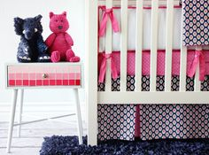 Navy and Hot Pink #nursery - love the preppy feel!