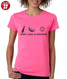 Allntrends Women's T Shirt Beer Lime And Sunshine Summer Party Tee (L, Safety Pink) (*Amazon Partner-Link)