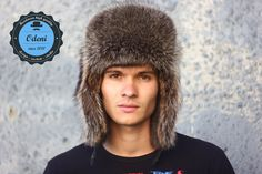 Full ushanka fur raccoon by ODENI on Etsy Winter Accessories, Winter Hats, Beanie, Trending Outfits, Fur Hats, Etsy, Vintage, Style Fashion, Beanies