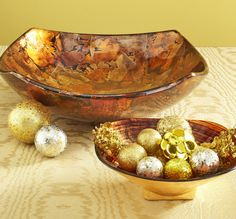 Create a dramatic look with Pier 1 Gold Foil Bowls