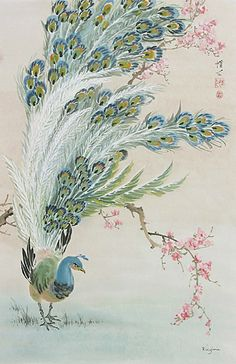 Feathered Lothario by Virginia Lloyd-Davies ~ Chinese Brush Painting ~ peacock