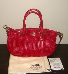 Nwt Coach Madison Gathered Leather Sophia Handbag 18620 Raspberry Red